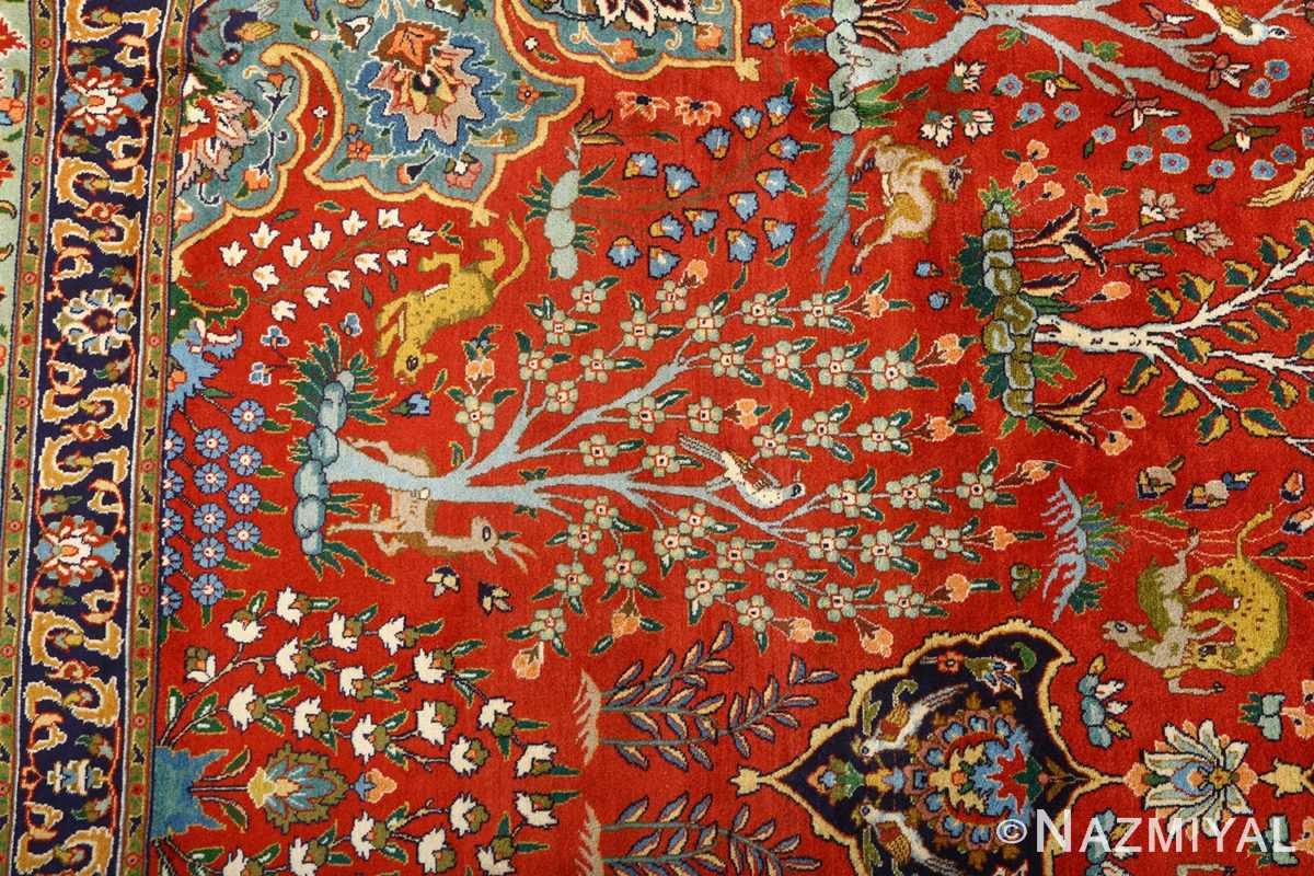 fine animal motif vintage tabriz persian rug 61064 tree Nazmiyal