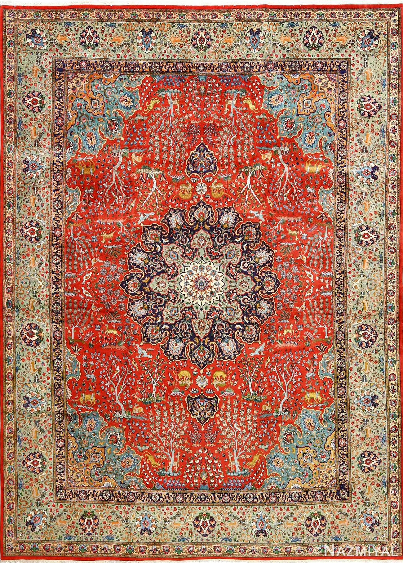 Beautiful Animal Motif Vintage Tabriz Persian Rug 51064 By