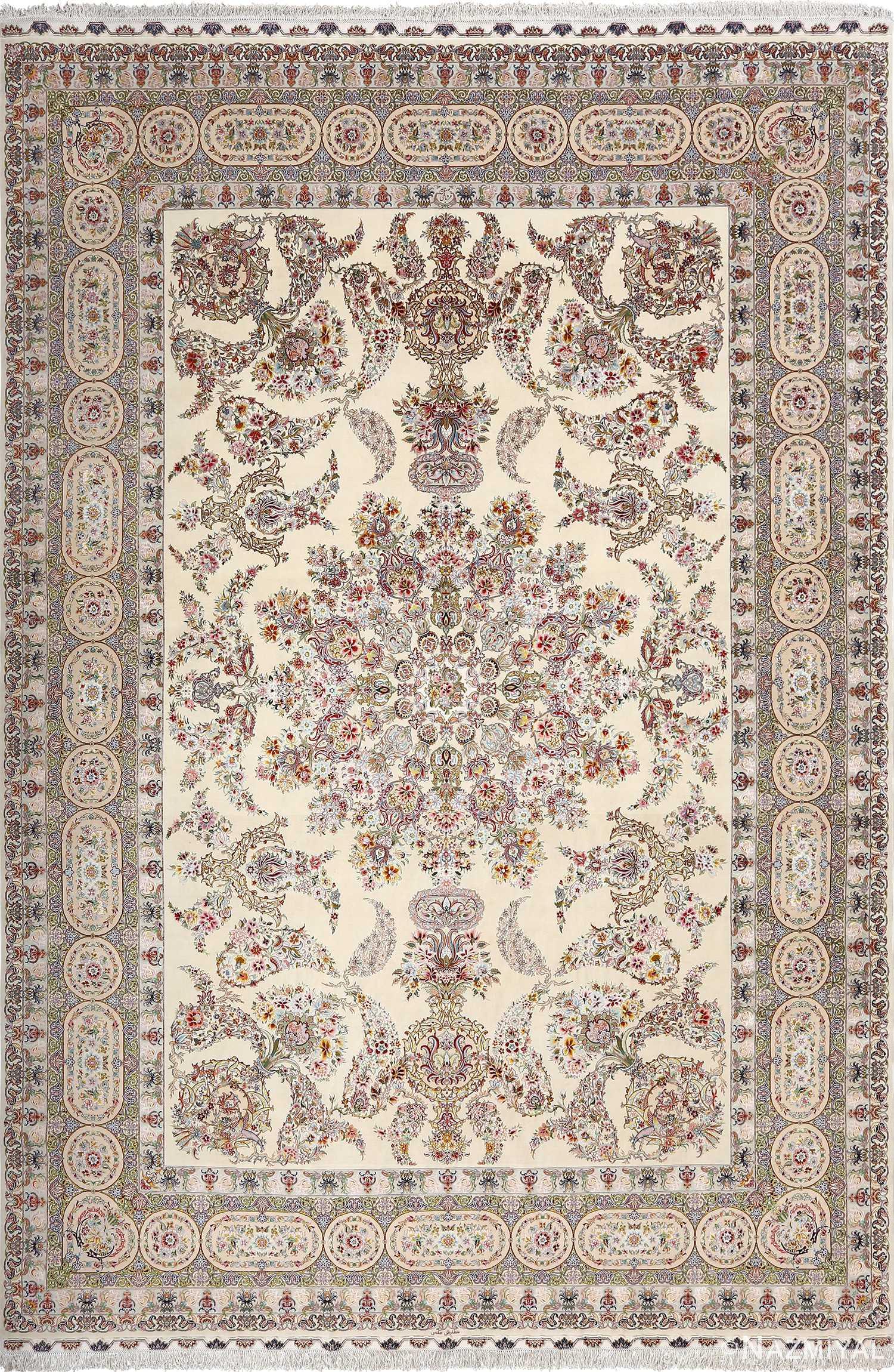 fine gharebaghi design vintage tabriz persian rug 51049 Nazmiyal