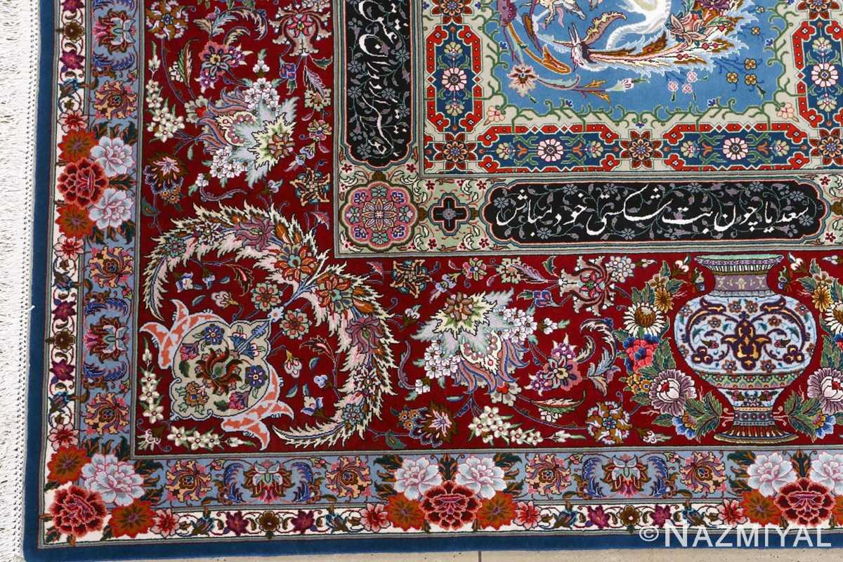 fine golestan design vintage tabriz persian rug 51028 corner Nazmiyal