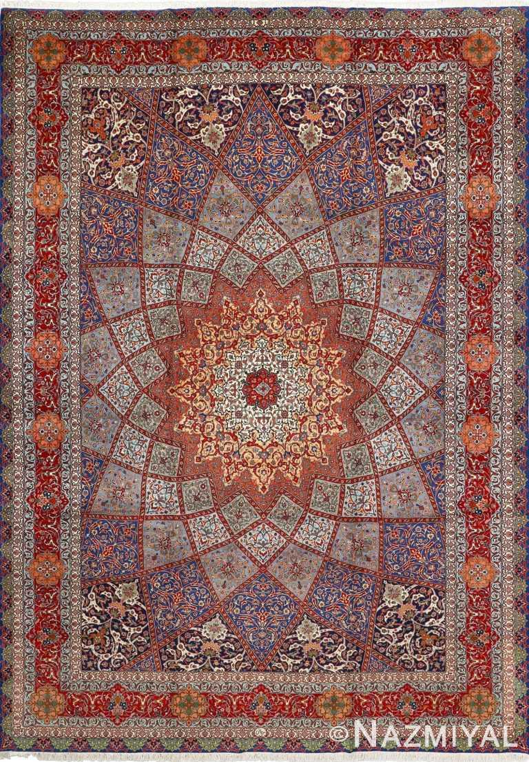 fine gonbad design vintage tabriz persian rug 51042 Nazmiyal