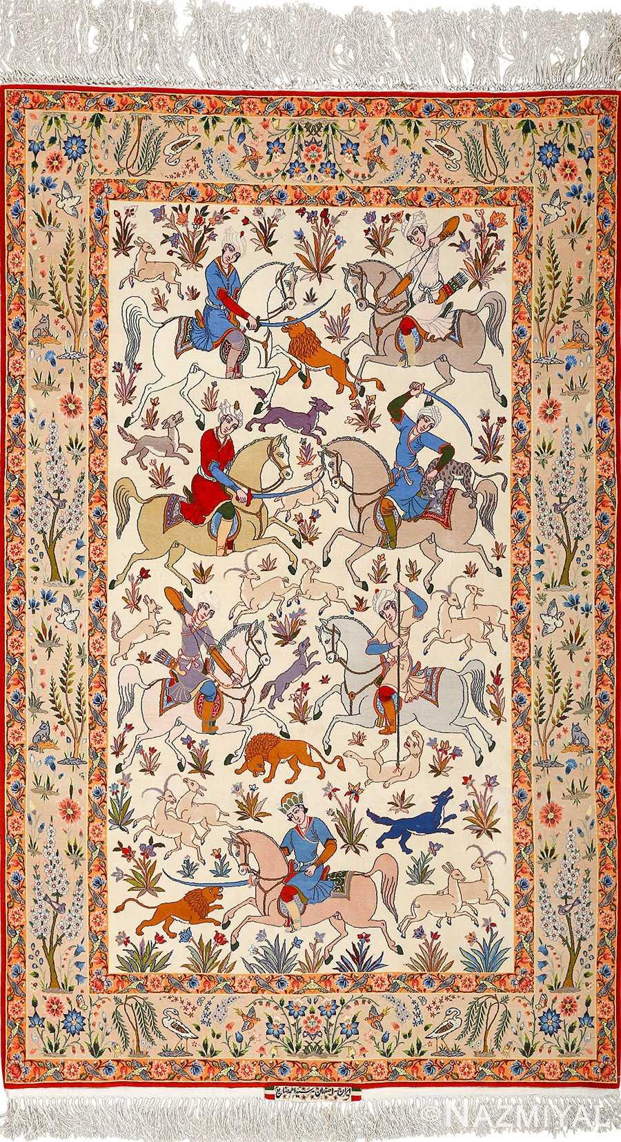 Fine Hunting Design Vintage Isfahan Persian Rug 51058 Nazmiyal