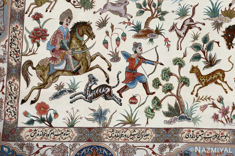 fine hunting design vintage tabriz persian rug 51057 arrow Nazmiyal