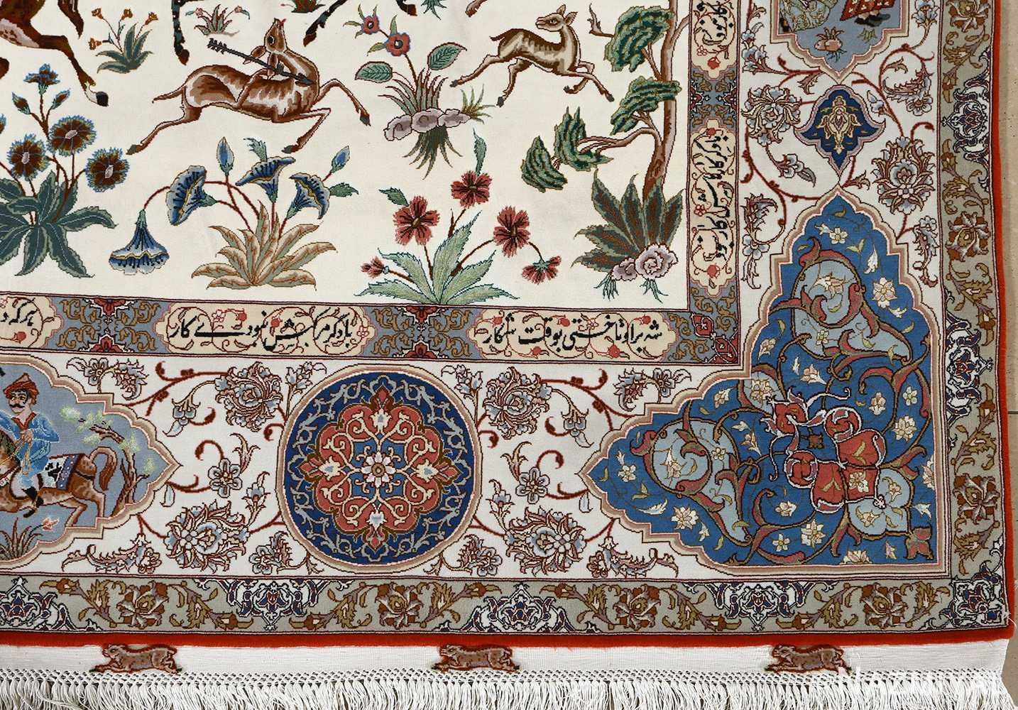 fine hunting design vintage tabriz persian rug 51057 corner Nazmiyal