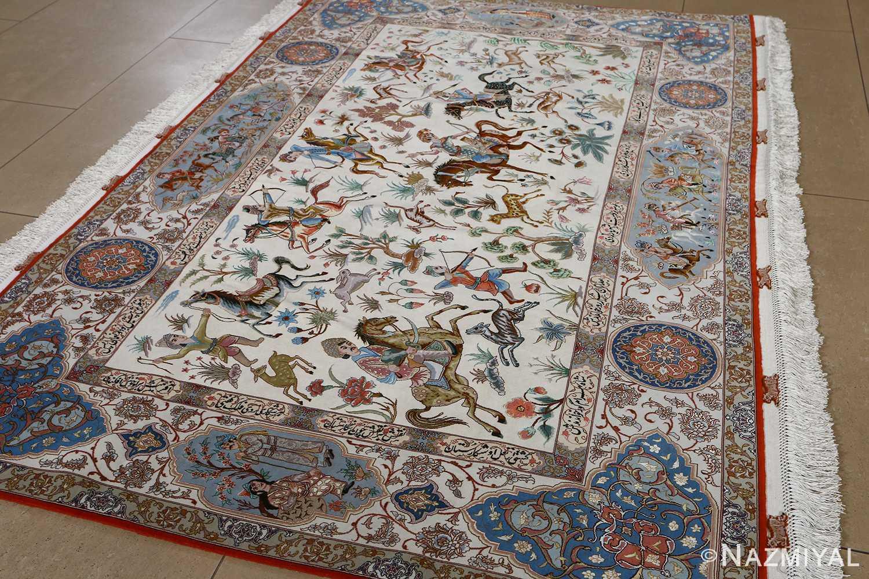 fine hunting design vintage tabriz persian rug 51057 full Nazmiyal