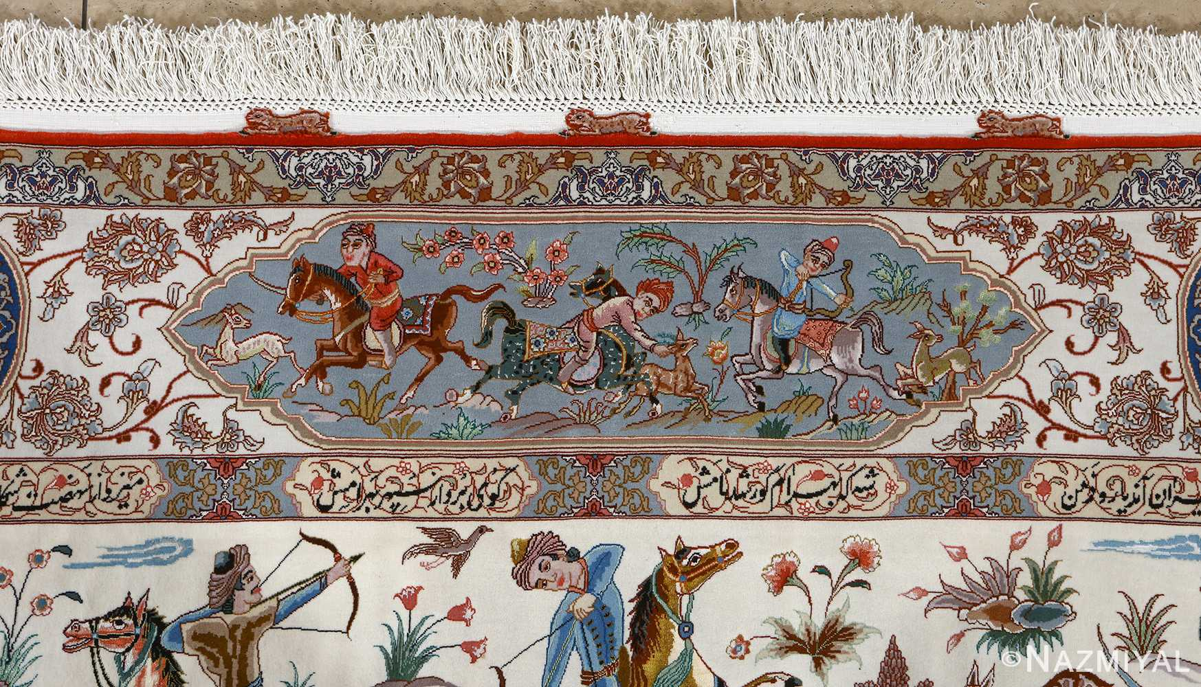 fine hunting design vintage tabriz persian rug 51057 hunting Nazmiyal