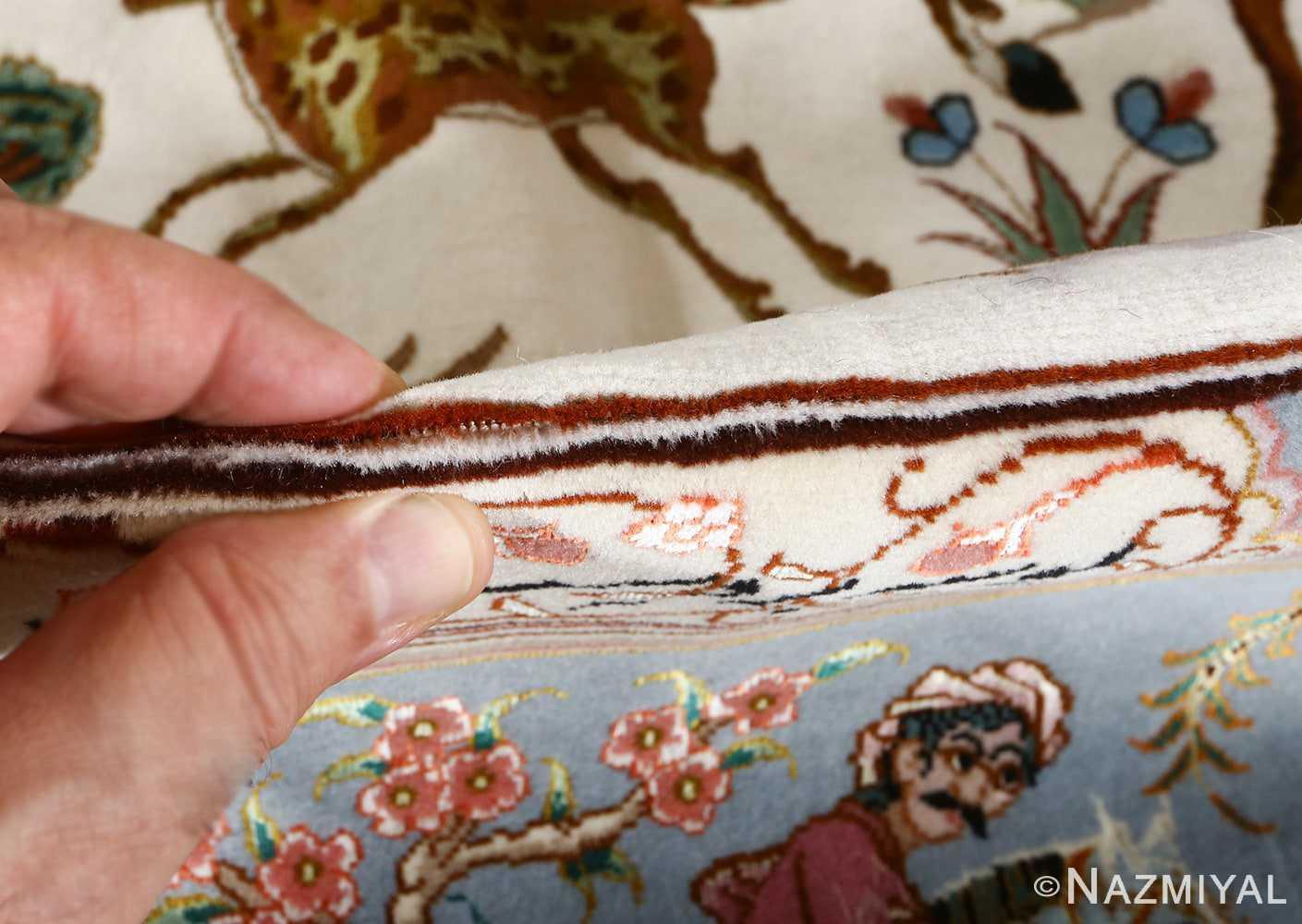 fine hunting design vintage tabriz persian rug 51057 pile Nazmiyal