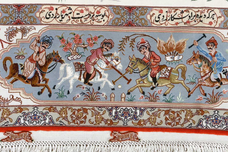 fine hunting design vintage tabriz persian rug 51057 polo Nazmiyal