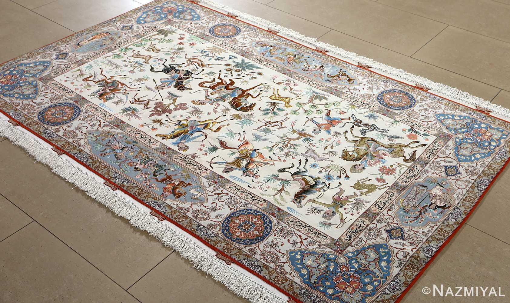 fine hunting design vintage tabriz persian rug 51057 side Nazmiyal