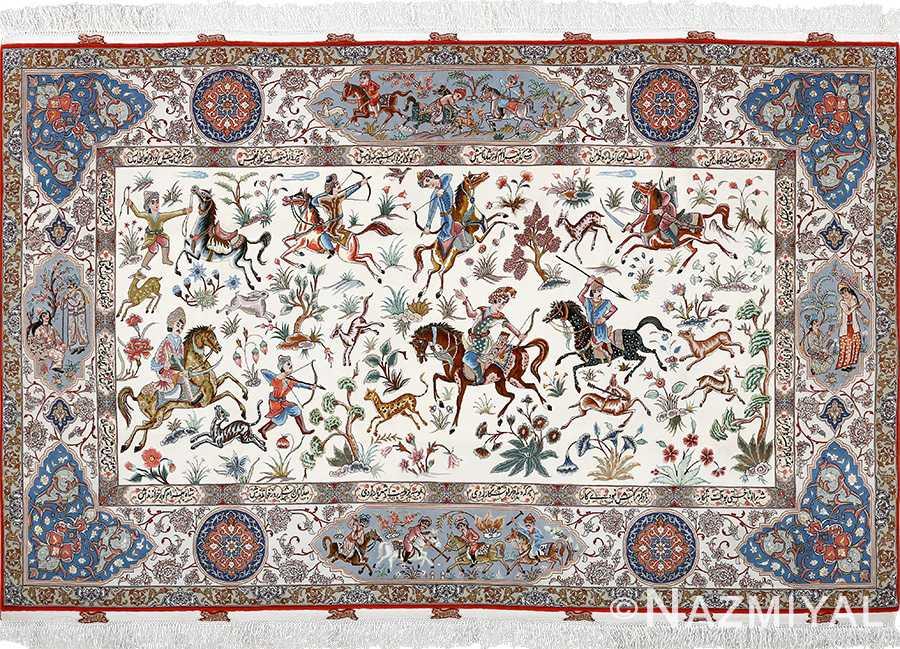 fine hunting design vintage tabriz persian rug 51057 Nazmiyal