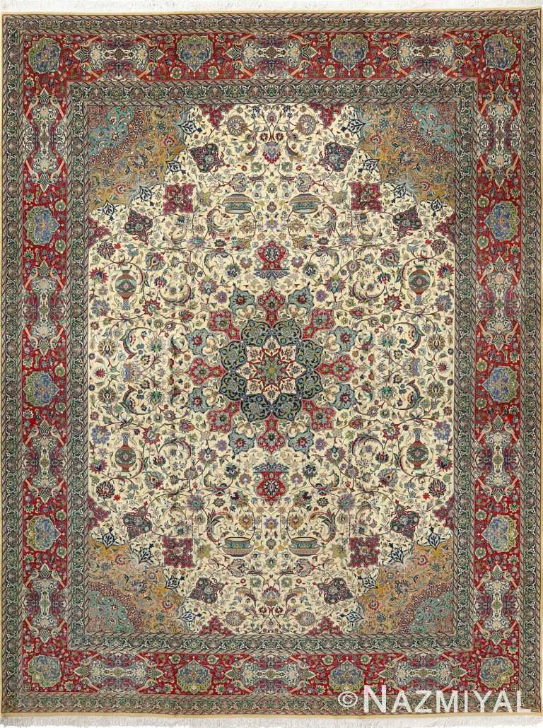 fine ivory background vintage tabriz persian rug 51039 Nazmiyal