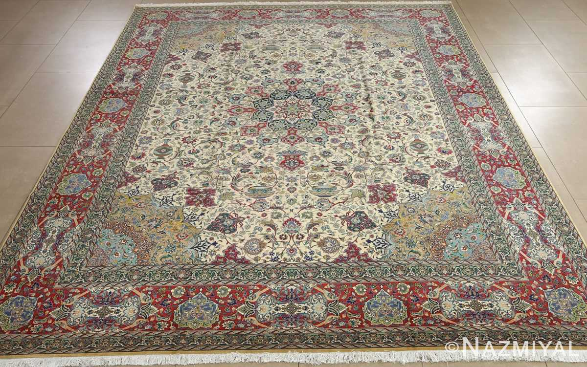 fine ivory background vintage tabriz persian rug 51039 full Nazmiyal