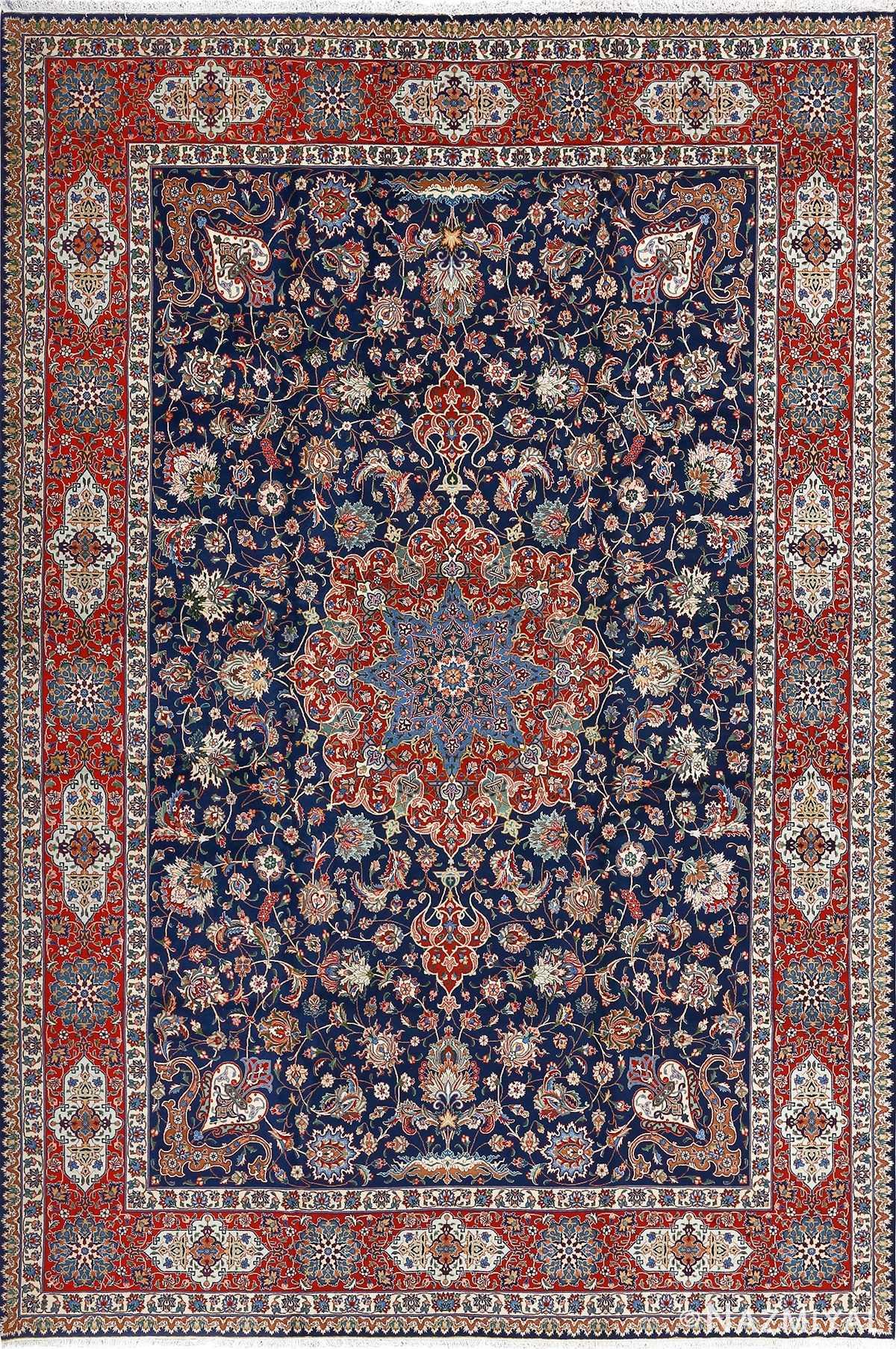 fine navy background vintage tabriz persian rug 51038 Nazmiyal
