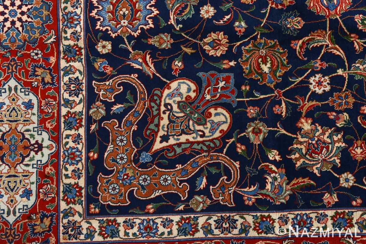 fine navy background vintage tabriz persian rug 51038 peony Nazmiyal