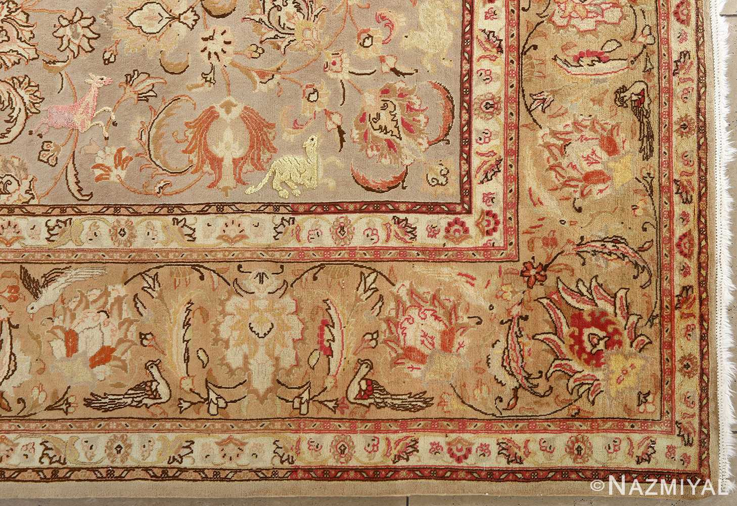 fine samadi animal motif vintage tabriz persian rug 51036 corner Nazmiyal