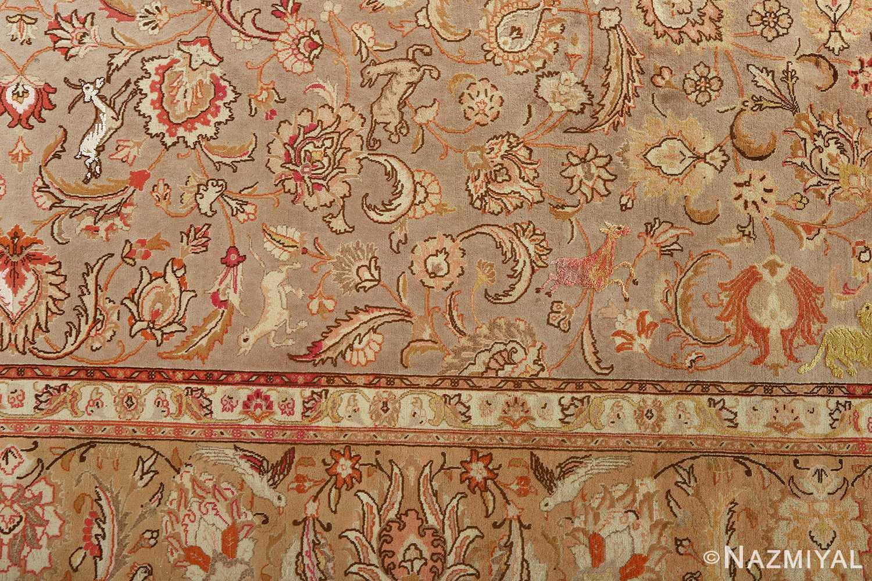 fine samadi animal motif vintage tabriz persian rug 51036 inner border Nazmiyal