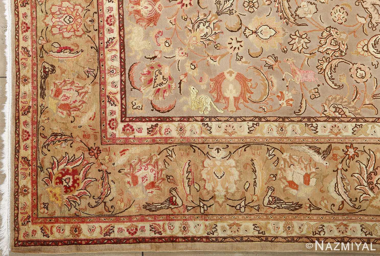 fine samadi animal motif vintage tabriz persian rug 51036 inner corner Nazmiyal