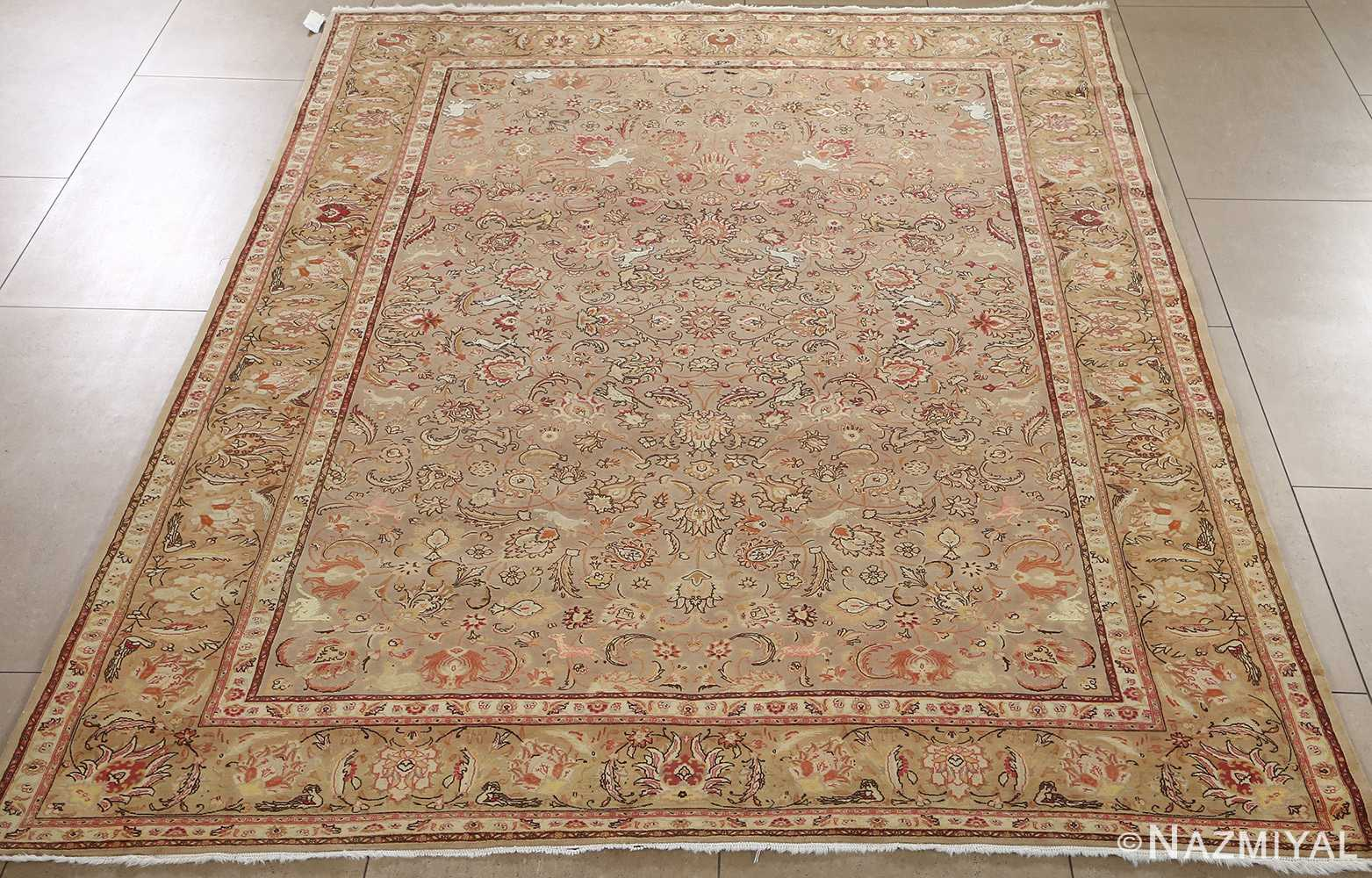 fine samadi animal motif vintage tabriz persian rug 51036 inner full Nazmiyal