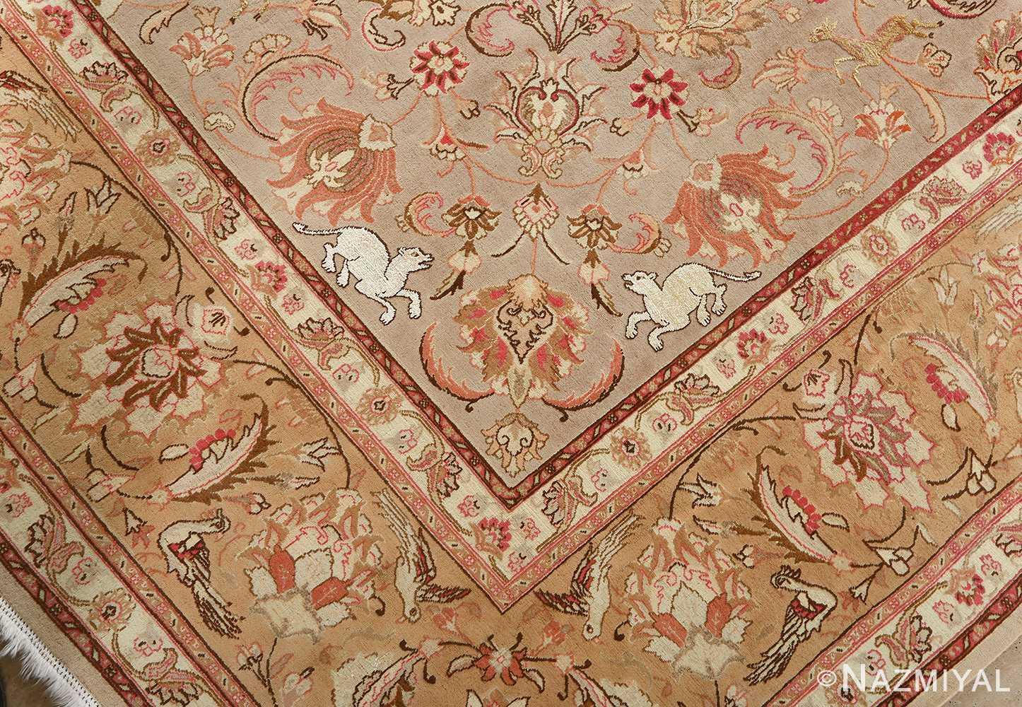 fine samadi animal motif vintage tabriz persian rug 51036 inner tigers Nazmiyal