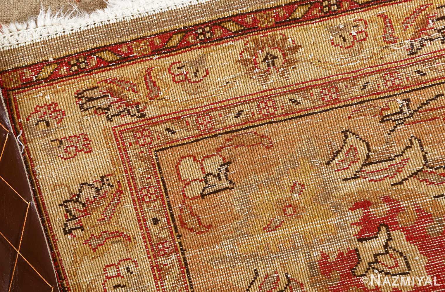 fine samadi animal motif vintage tabriz persian rug 51036 inner weave Nazmiyal