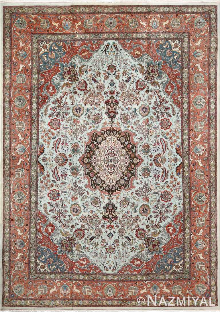 fine samadi animal motif vintage tabriz persian rug 51037 Nazmiyal