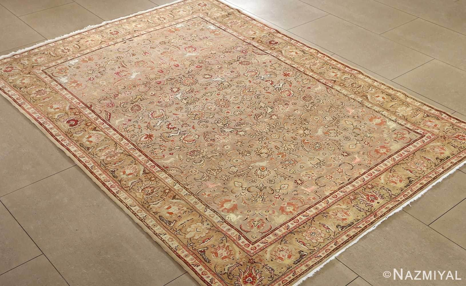 fine samadi animal motif vintage tabriz persian rug side Nazmiyal