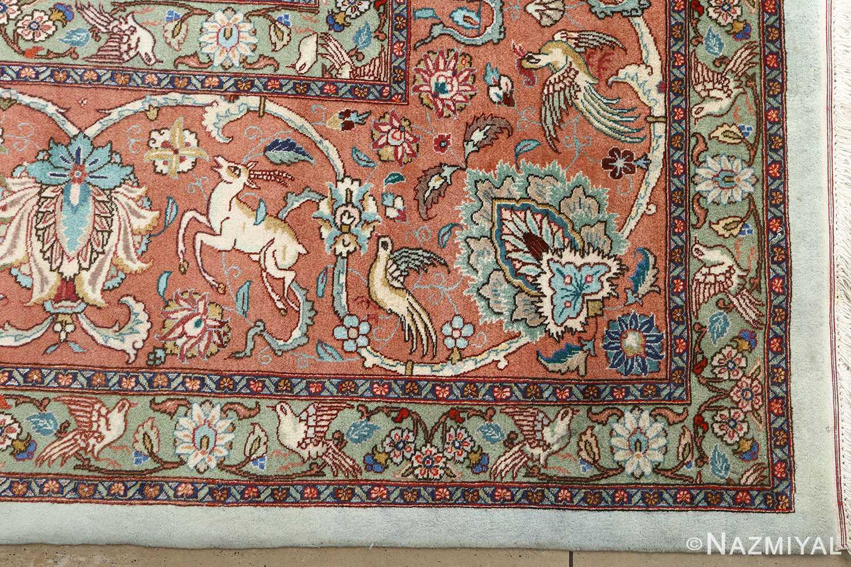 fine samadi vintage tabriz persian rug 51037 deers Nazmiyal