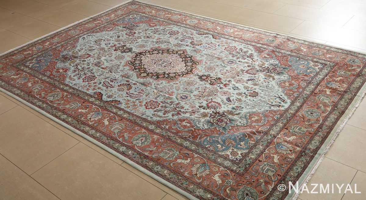 fine samadi vintage tabriz persian rug 51037 side Nazmiyal