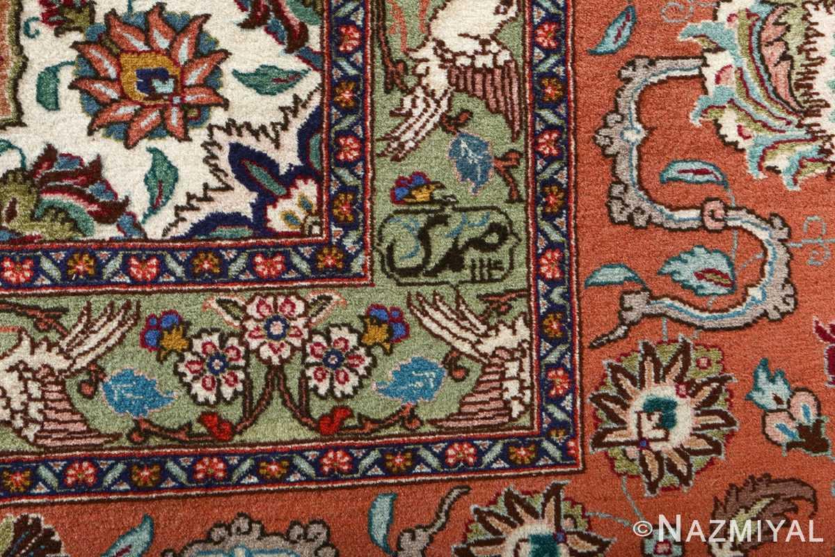 fine samadi vintage tabriz persian rug 51037 signature Nazmiyal