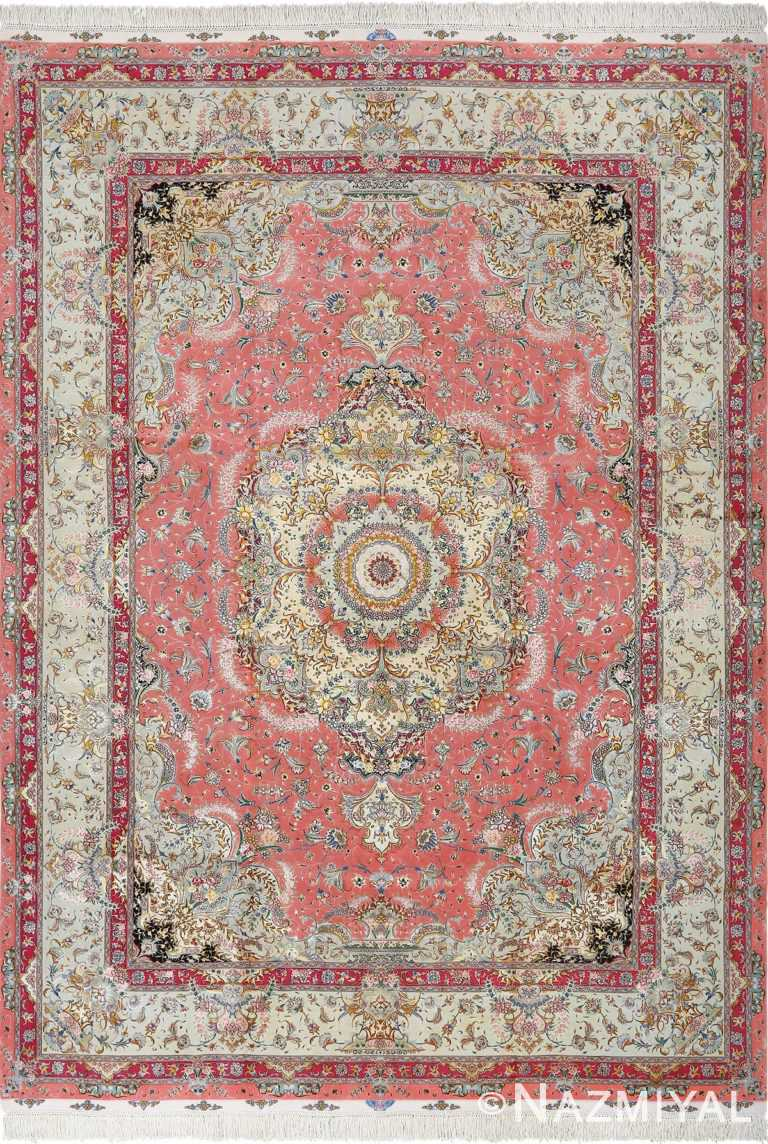 Fine Floral Vintage Persian Pink Tabriz Area Rug #51032 by Nazmiyal Antique Rugs