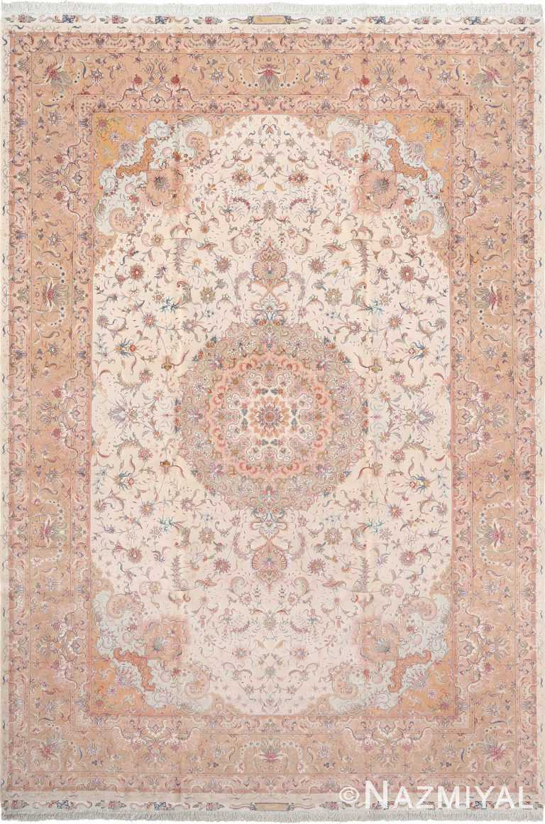 Fine Soft Color Large Vintage Tabriz Persian Floral Rug #51029 by Nazmiyal Antique Rugs