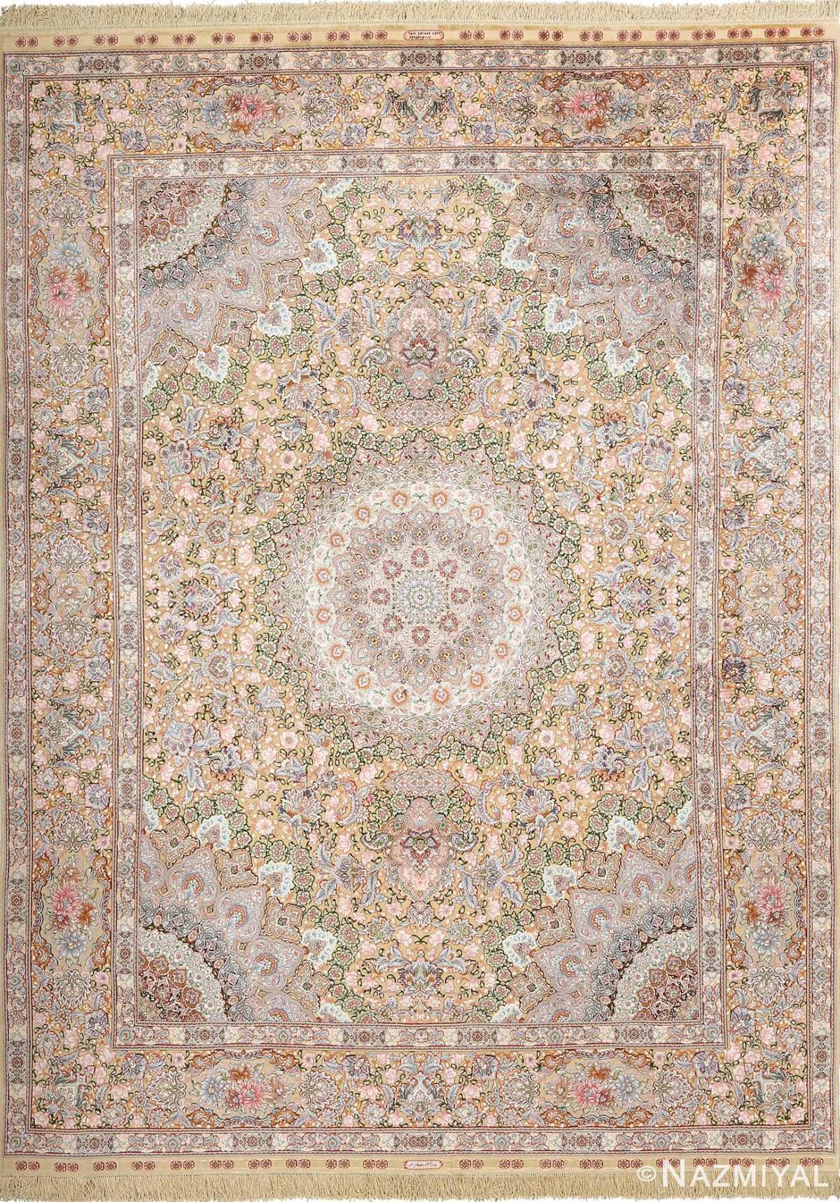 fine silk and gold thread vintage tabriz persian rug 51054 Nazmiyal