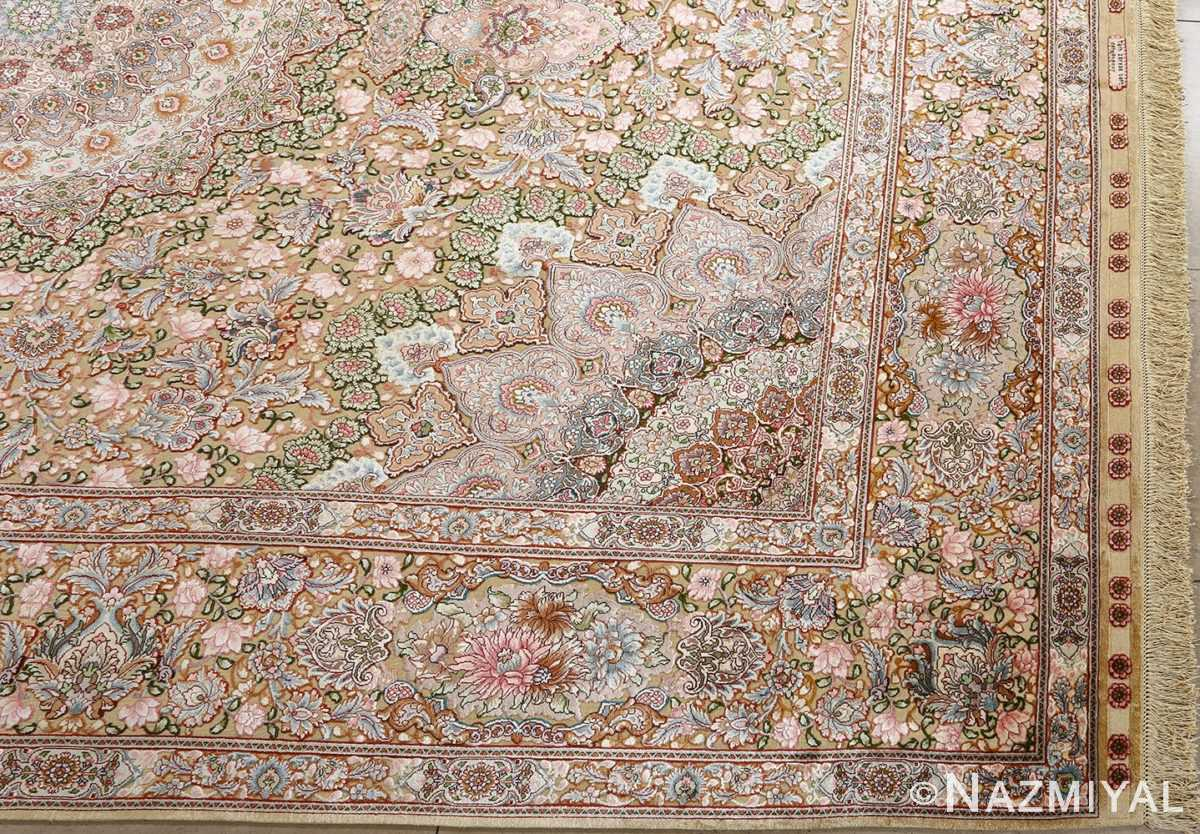 fine silk and gold thread vintage tabriz persian rug 51054 corner Nazmiyal