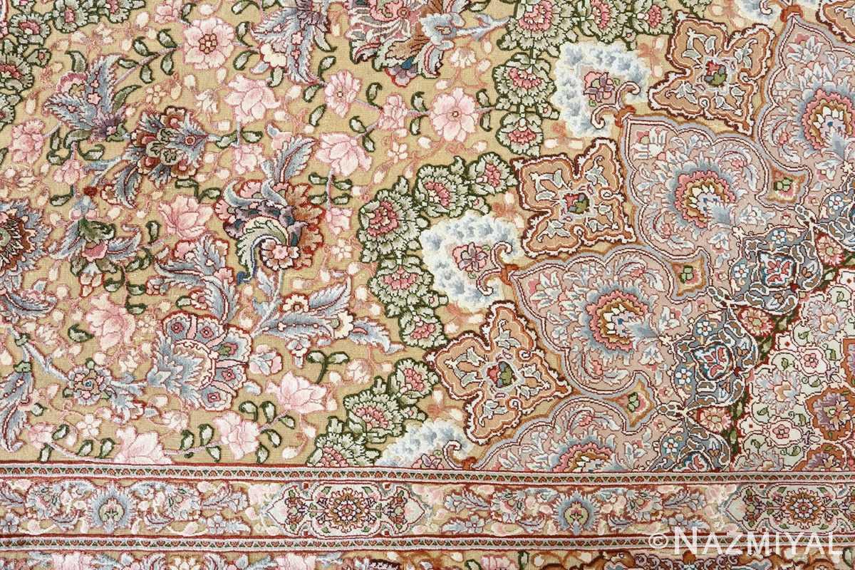 fine silk and gold thread vintage tabriz persian rug 51054 detail Nazmiyal