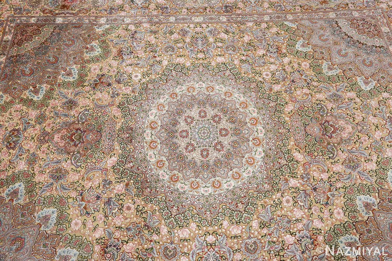 fine silk and gold thread vintage tabriz persian rug 51054 field Nazmiyal