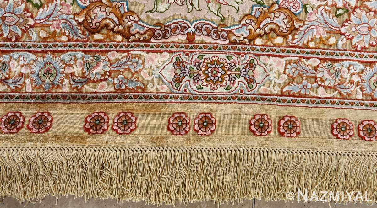 fine silk and gold thread vintage tabriz persian rug 51054 fringes Namziyal