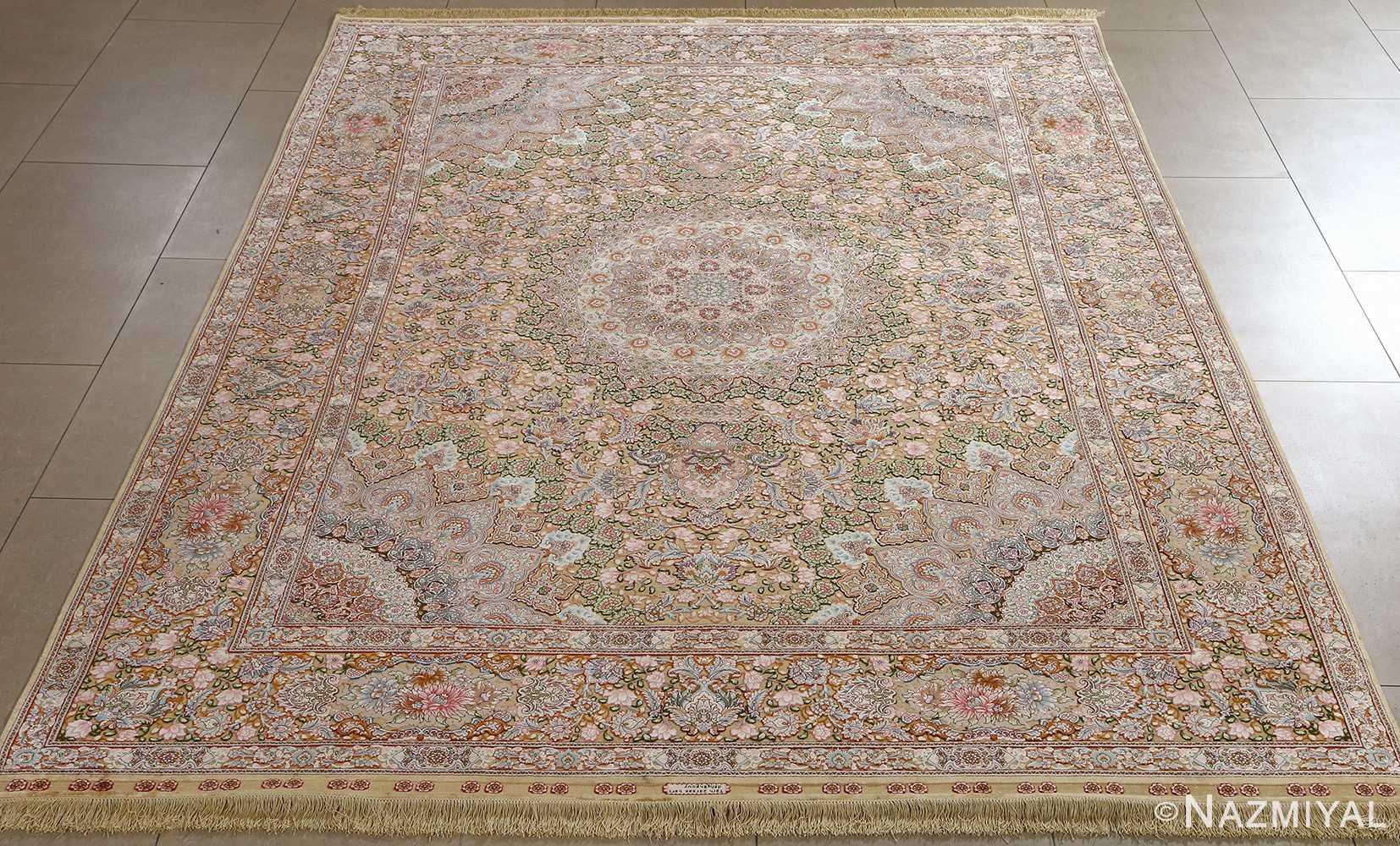 fine silk and gold thread vintage tabriz persian rug 51054 full Nazmiyal