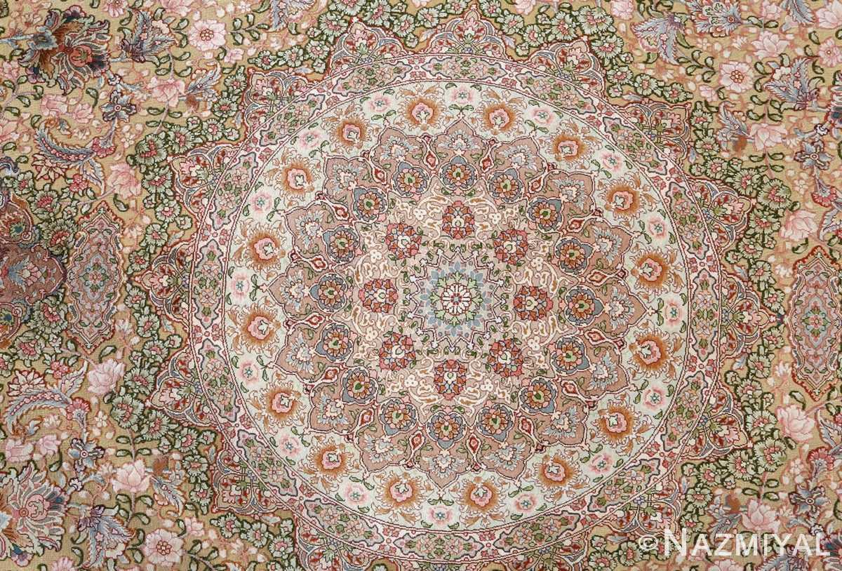 fine silk and gold thread vintage tabriz persian rug 51054 medallion Nazmiyal