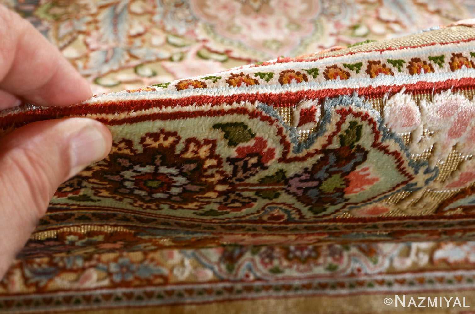 fine silk and gold thread vintage tabriz persian rug 51054 pile Nazmiyal