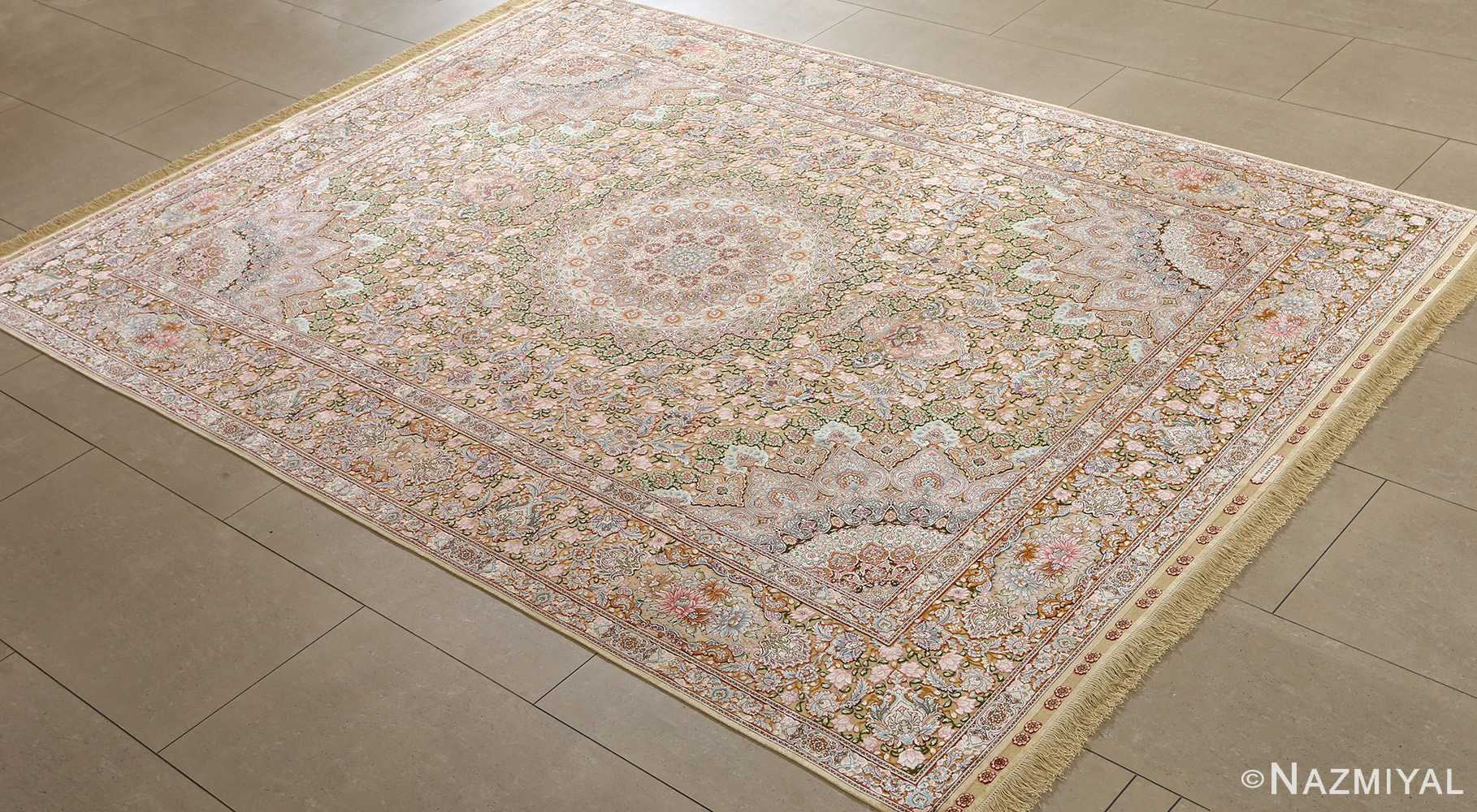 fine silk and gold thread vintage tabriz persian rug 51054 side Nazmiyal
