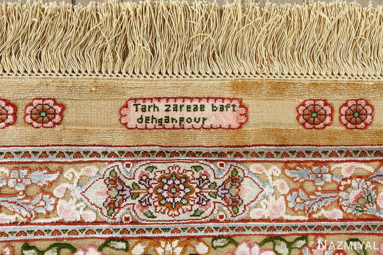 fine silk and gold thread vintage tabriz persian rug 51054 sign Namziyal
