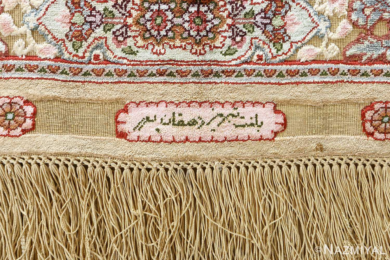 fine silk and gold thread vintage tabriz persian rug 51054 signature Namziyal