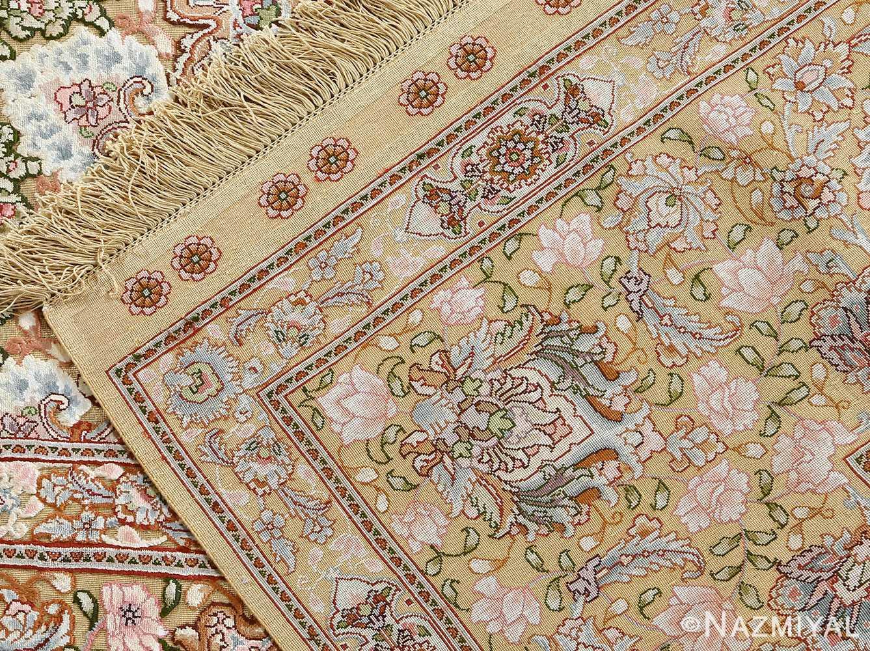 fine silk and gold thread vintage tabriz persian rug 51054 weave Namziyal