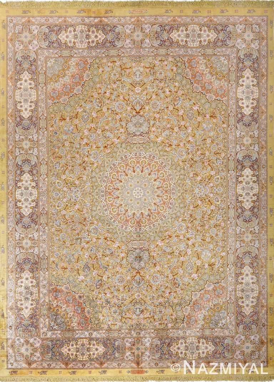 fine silk and gold thread vintage tabriz persian rug 51056 Nazmiyal