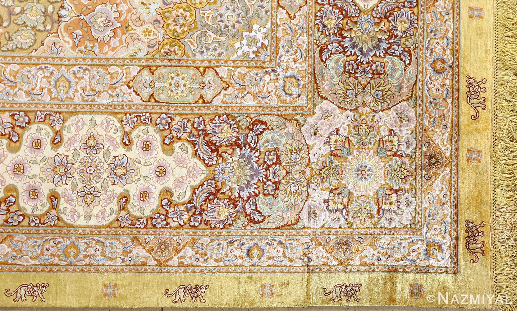 fine silk and gold thread vintage tabriz persian rug 51056 corner Nazmiyal