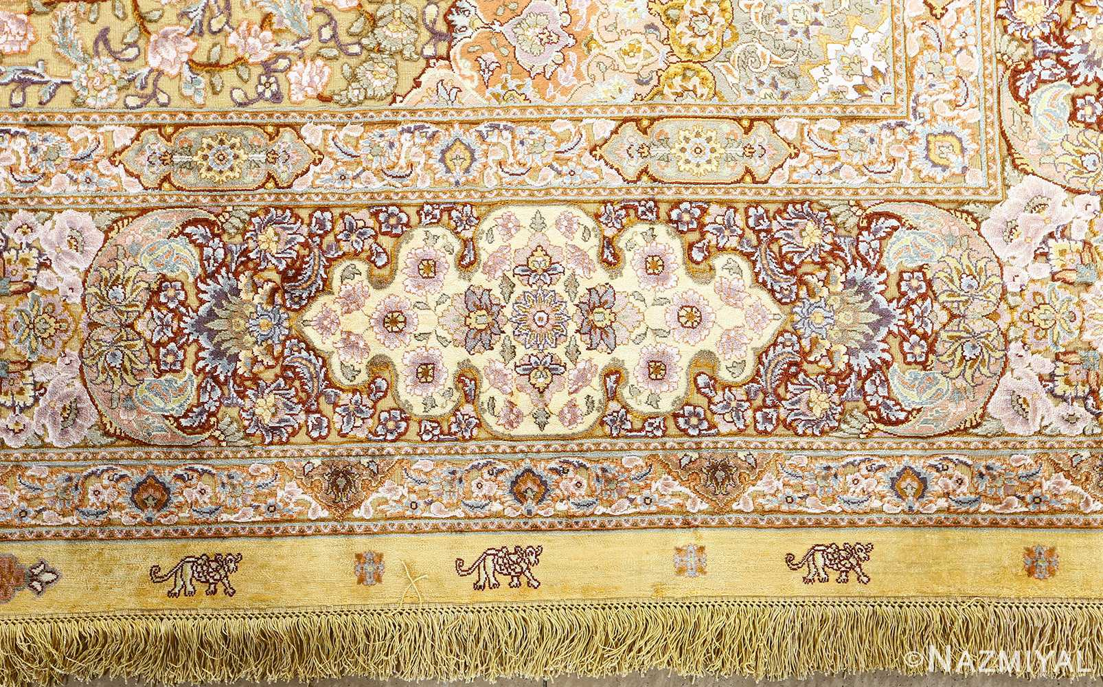 fine silk and gold thread vintage tabriz persian rug 51056 design Nazmiyal