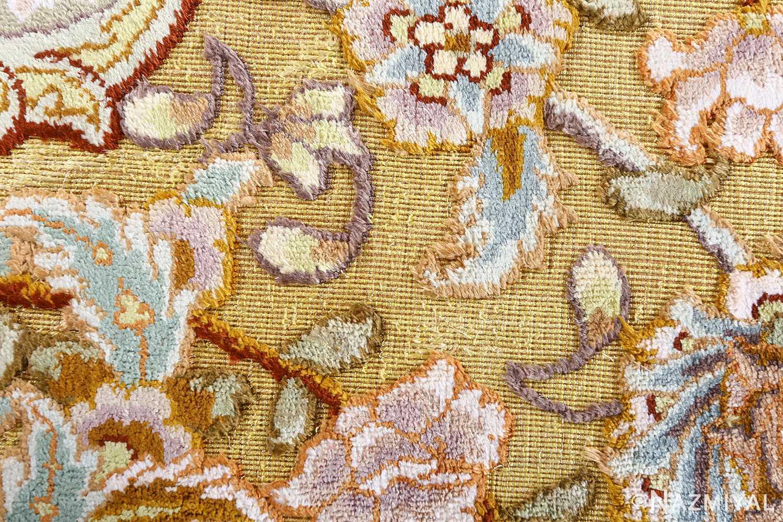fine silk and gold thread vintage tabriz persian rug 51056 field Nazmiyal