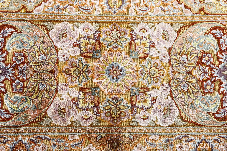 fine silk and gold thread vintage tabriz persian rug 51056 flower Nazmiyal