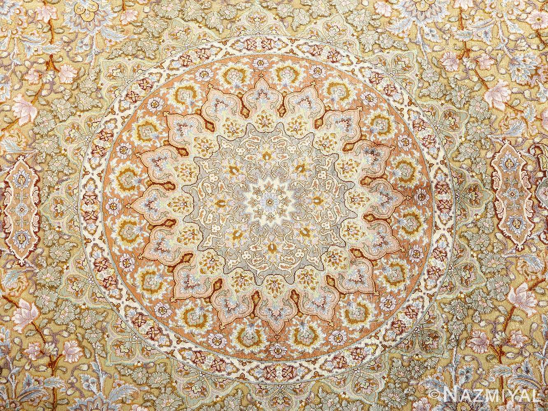 fine silk and gold thread vintage tabriz persian rug 51056 medallion Nazmiyal