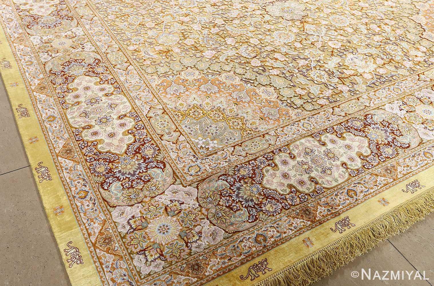 fine silk and gold thread vintage tabriz persian rug 51056 raised Nazmiyal